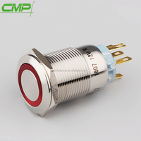 CMP Dia:19mm stainless steel waterproof led ring light illuminated pushbutton switch