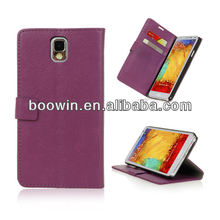 For samsung galaxy Note 3 N9000 purple colors wallet leather case high quality factory's price