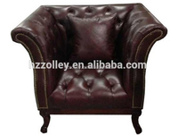 Italian Style Brown Color Real Leather Wooden Chairs And Tables Set