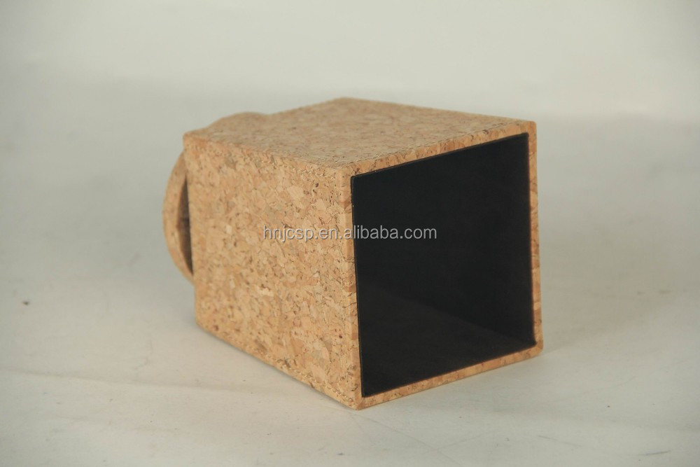 Decorative nature cork fabric office table top pen pot