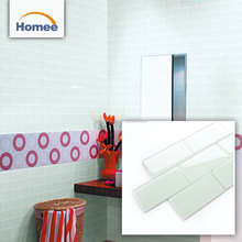 New arrival custom made bathroom glass subway mosaic tile bathroom glass wall tile design