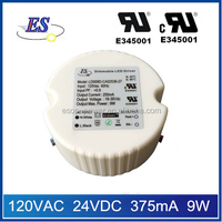 ES 9w 375ma 120vac to 24vdc constant current triac dimmable led driver power supply with UL CUL IP65