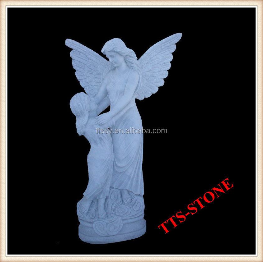 Angel figure stone with children statue