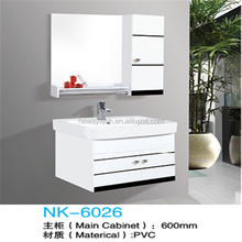 Modern type PVC wall mounted home depot bathroom vanity sets with side cabinet