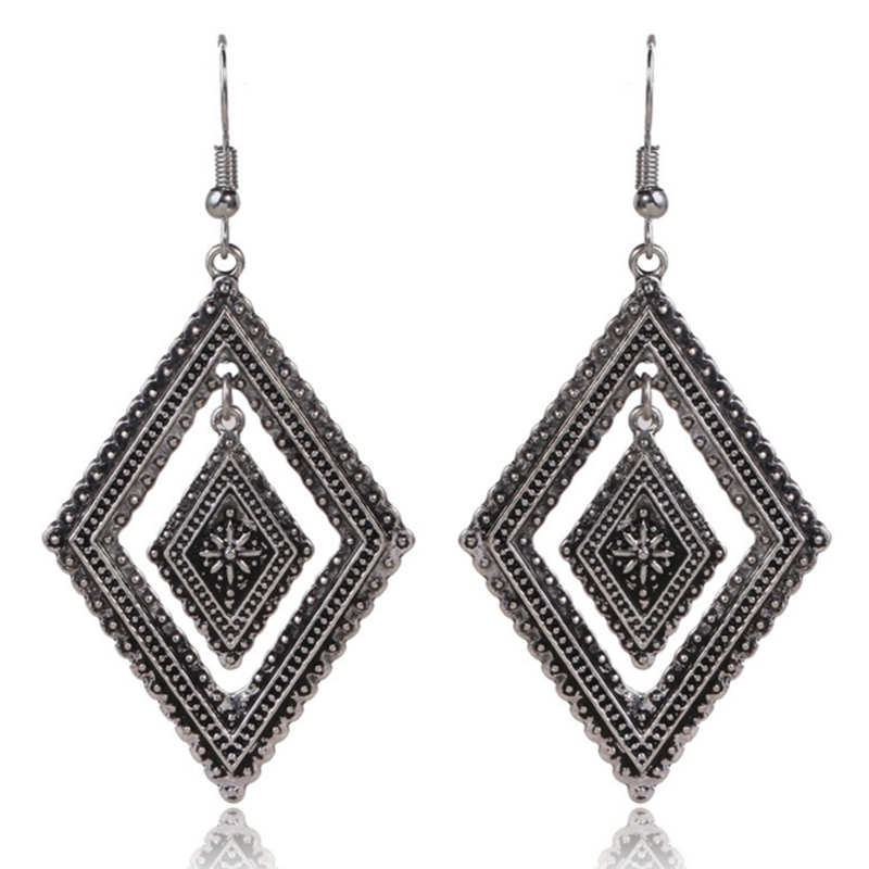 Hot sale Graceful Ethnic Style Earrings Rhombus Jewelry Earrings