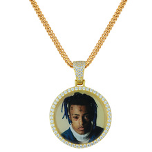 Miss Jewelry Hip Hop Custom 18k Gold CZ Diamond Paved 3D Photo Picture Frame <strong>Pendant</strong>