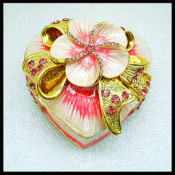 metal floral box for jewelry and ring