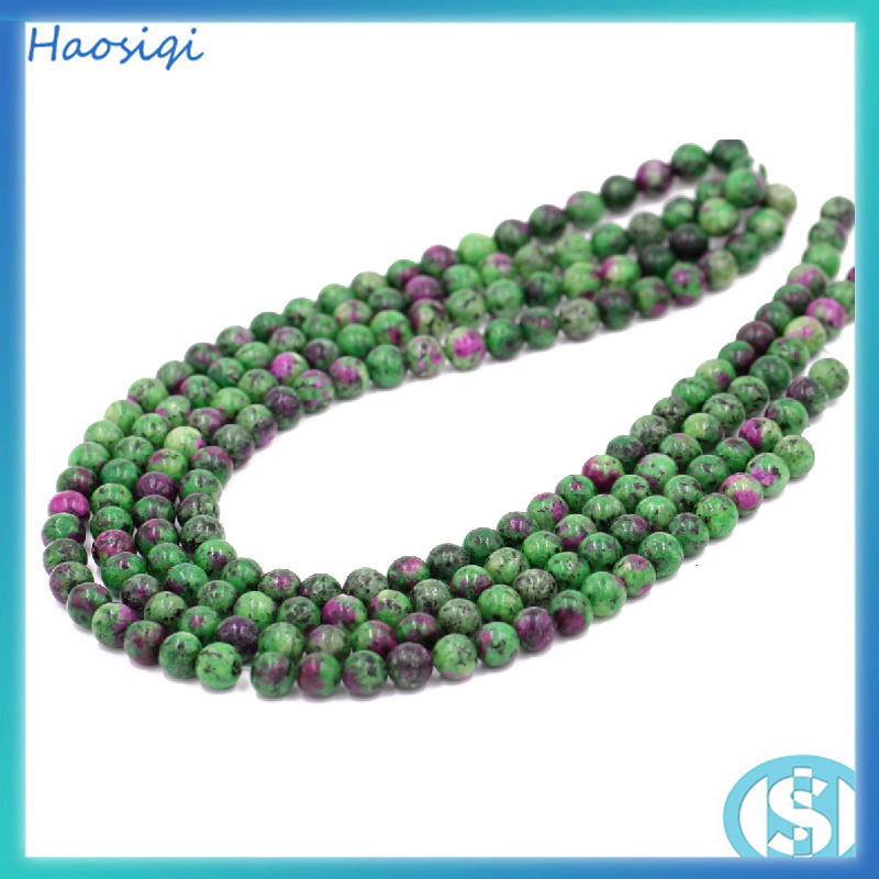 Cheap price round 8mm red and green Ruby Zoist stone bead strands for making bracelets