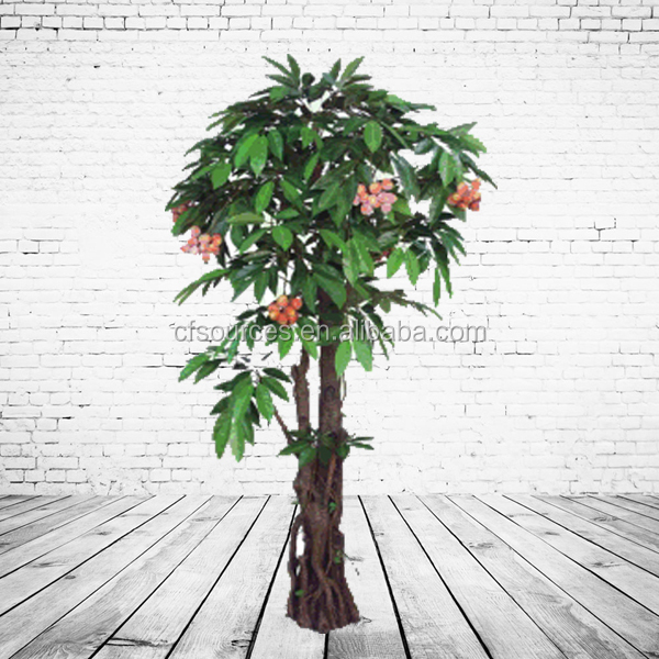 Artificial Fruit Tree Lichee Tree For Supermarket Decoration