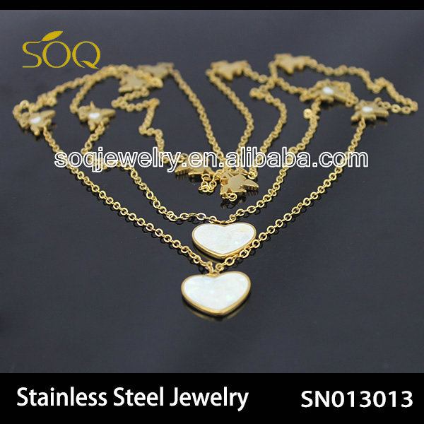 SN013012 Stainless Steel Link Chain with Enamel Heart 18k Gold Necklace for Wholesale Fashion Jewelry