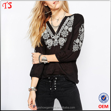 Latest free samples factory custom clothes women embroidered blouse