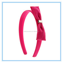 Elegant plain solid color chiffon bow wide hair bands for kids