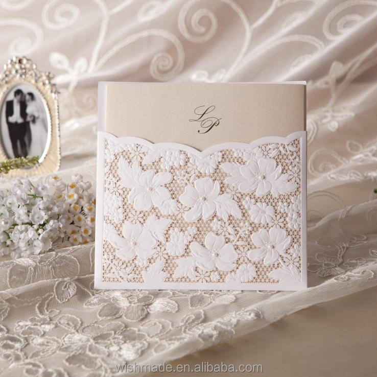 White Lace Wedding Invitation Card Wedding Invitation Pocket Elegant Wedding Invitation W1101