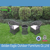 High end and popular big round rattan chair set with modern design and uv-resistant rattan