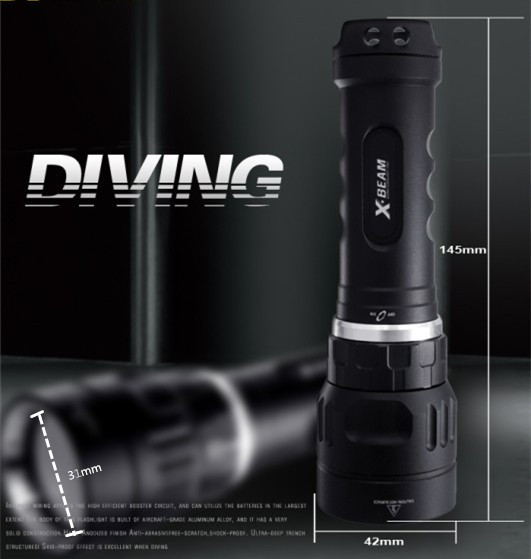 2017 Newest Arrival Waterproof IP68 Lighting Diving 1000 Lumen Cree Miniled xm-lu2 Diving Fashlight