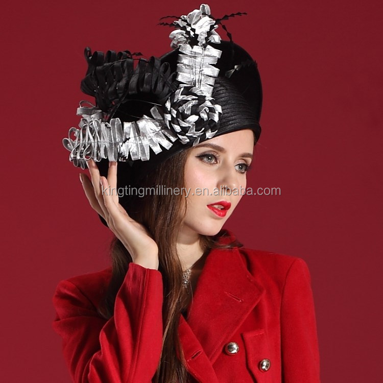 Factory Direct Unique Black/White Satin Ribbon Women Hat Fancy Church Hat Christmas Hat