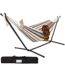 Hot sell Steel Stand Double Hammock Bed Patio Swing Includes Portable Hammock Carrying Camping Hammock Case DF-21-39