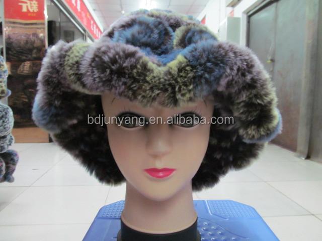 ball or pom knitted beanie pattern/animal faux fur earflap hat/100% cashmere hats
