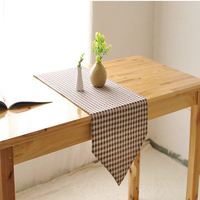 Modern style hot sale red coffee plaid cotton & linen table runner, wholesale home hotel decor interior decorating