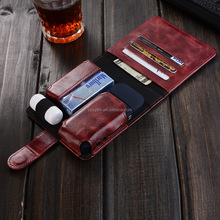 Hot sale portable electronic cigarette carrying PU leather cover card holder frosted iQOS case