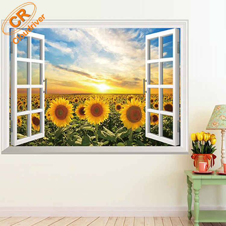 Eco-friendly PVC Adhesive Sunflower 3D Wall Sticker For Kids Room