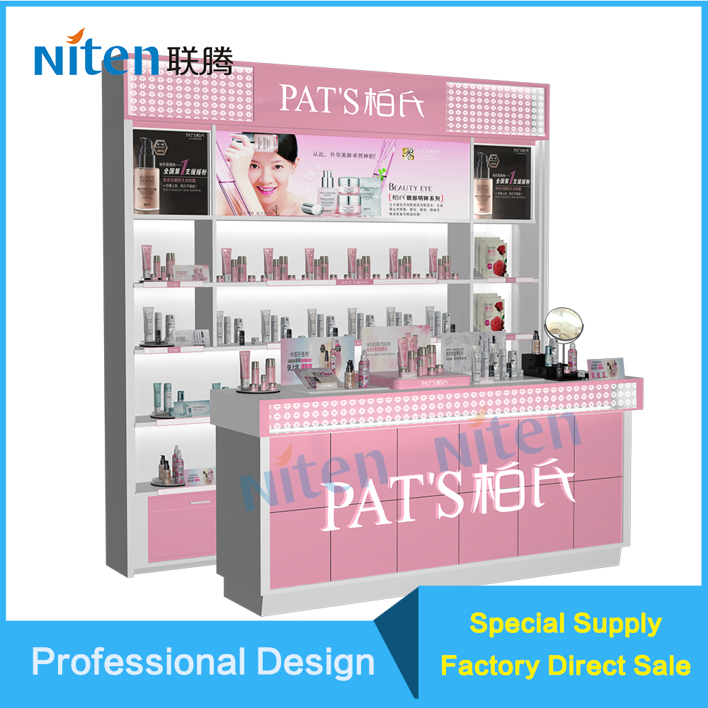 Wood mdf plywood cosmetic shop counter design intergrated display stand