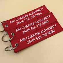 Custom airplane insert before flight embroidered keychains for tags