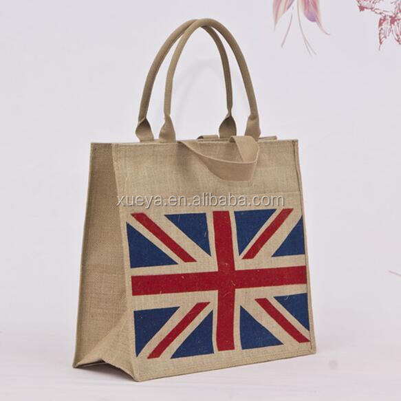 cheap price promotional jute beach bags with united kingdom flag