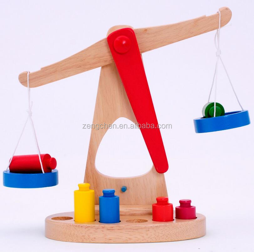 Fashion Outlet NEW Kids Favorite fun toy Wooden Balance Beam SCALE weights Machine kid Preschool Educational Toy