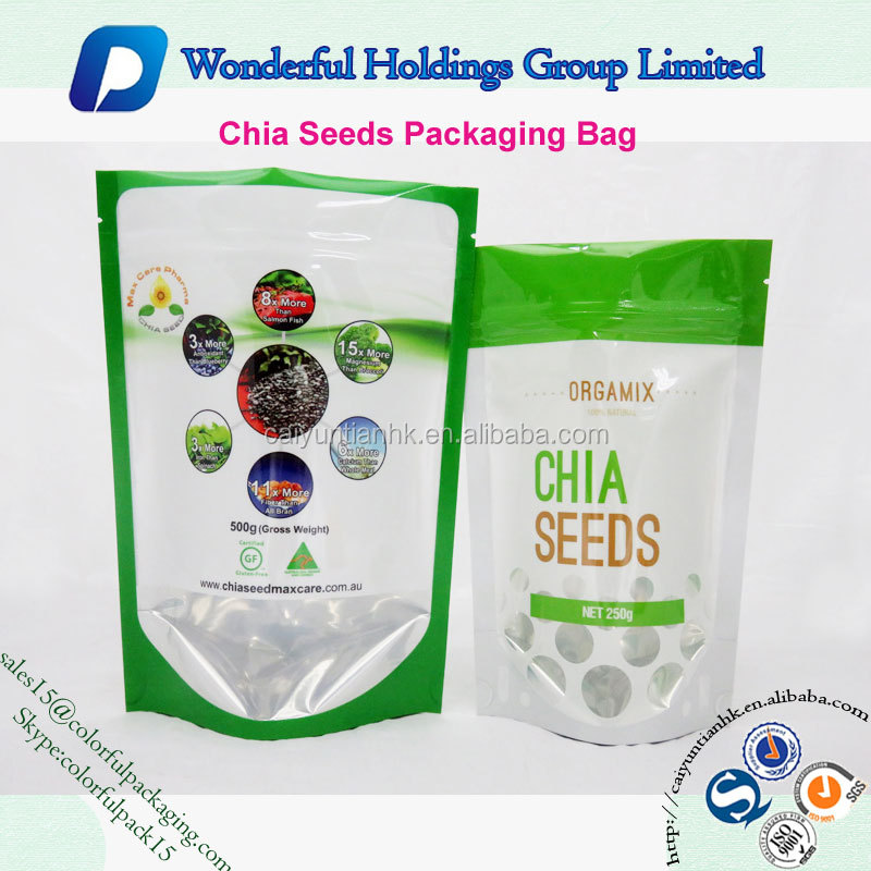 doypack with clear window foil lined 500g chia seeds packaging bag printable plastic bags