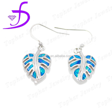 2016 wholesale fashion sterling silver jewelry hook blue opal earrings