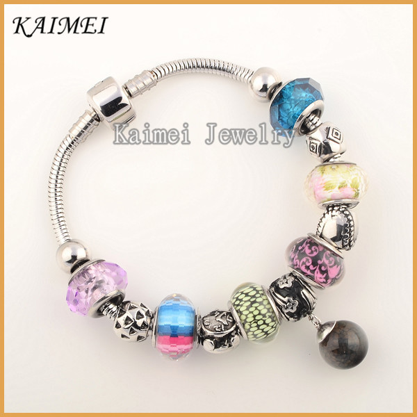 Custom Designs Cheap European Style Colorful Murano Glass Beads Fit Snake Chain Charms Bracelet