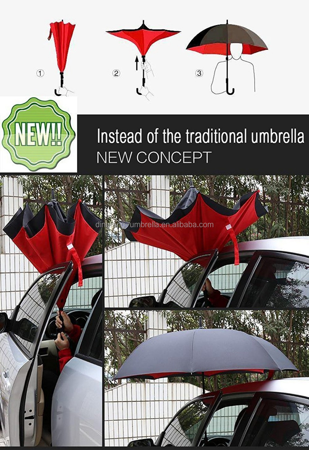 Newly Anti-wet Inverted Reverse Open Upside Down Umbrella