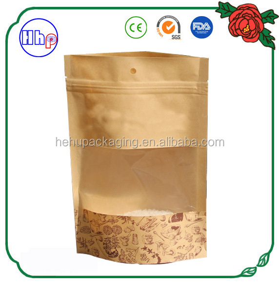 wholesaels zip lock kraft paper stand up pouches with clear window for food packaging