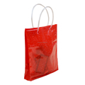 soft loop handle red color 6p free clear PVC bag