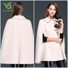 Newest and fashion lapel cape decorated women coat winter 2015