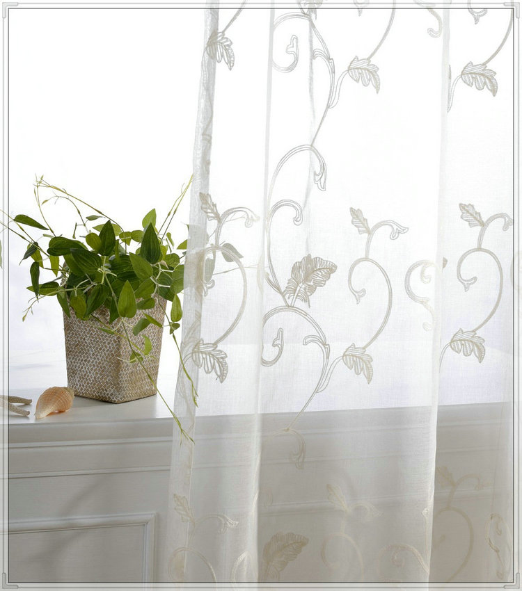Best selling top Quality embroidered rod pocket sheer curtains