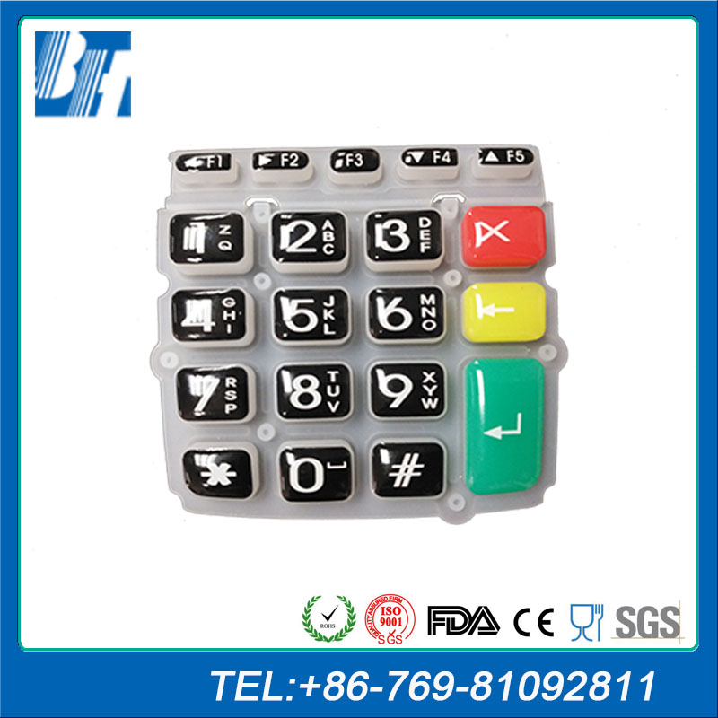 Custom Screen Printing Glue Silicone Rubber Keypad For POS Machine With Free Technical Support