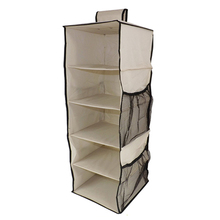 5 Shelves Plus 4 Side Pockets 600D Fabric Heavy Duty Hanging Shelves Wardrobe Organizer