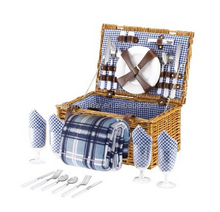 wicker willow picnic basket with forks, knives,spoons,plates,glasses and opener