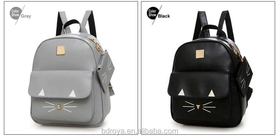 Royadong 2017 New Style Youth Fashion Lovely Cats Pu Leather Young Ladies Backpacks