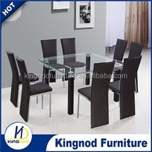 2016 hot sale modern clear square glass Dining room set dining table and chair