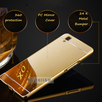 High quality aluminum mirror pc cell phone cover metal bumper case for iphone 6 plus 7