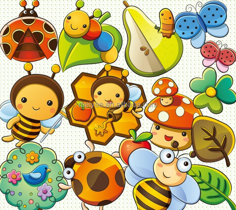 Smart Bees Beatles in Spring Anti-slip Natural Rubber Baby Education Mat Baby Gym Play Mat