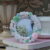 Rond shape flower design enamel picture frame pewter photo frame
