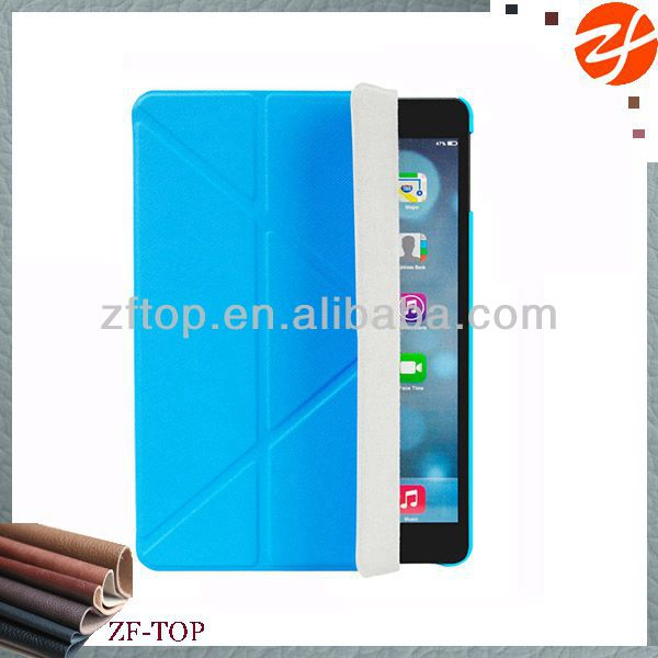 Multi-standing folded angles leather case for ipad air with smart cover
