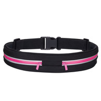 Water Resistant waist packs,extra Large Pocket Fits ALL Phones,Reflective Materials For Safety-Two pockets-Pink