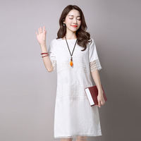 monroo Women White Gray Color O Neck Short Sleeve Cotton Linen A Line Dress Plus Size Women Clothing Hollow Out Vintage Dress