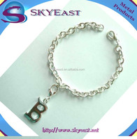 New Fashion Silver Bracelet Attached DIY Shiny Letter Charms