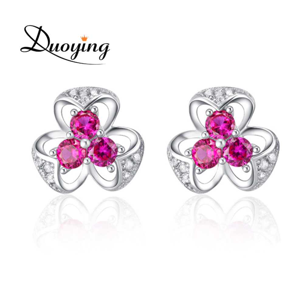 Wholesale Hot Novelty Items Sterling Silver Flower Shaped Fashion Models Stud Three Red diamond Earring with Rubies